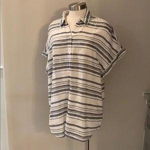 Beach Lunch Lounge linen button striped shirt